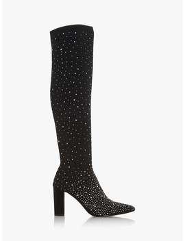 Dune Starlight Knee High Diamante Sock Boots, Black by Dune