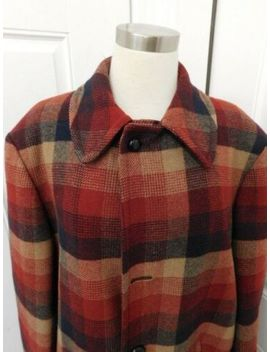 "Vintage Pendleton Plaid Wool Blanket Coat Red Tan 51"" Chest by Pendleton"