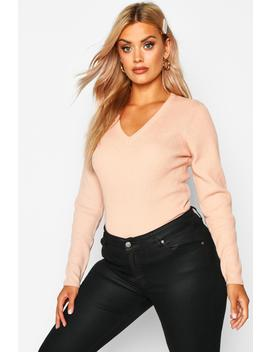 Plus Ribbed V Neck Jumper by Boohoo