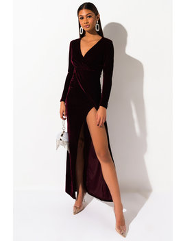 Got Me Crazy Velvet Long Sleeve Maxi Dress by Akira