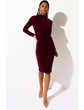 Feel The Chemistry Velvet Long Sleeve Midi Dress by Akira