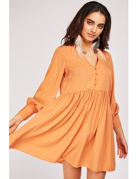 Button Front Frilly Tunic Dress by Everything5 Pounds