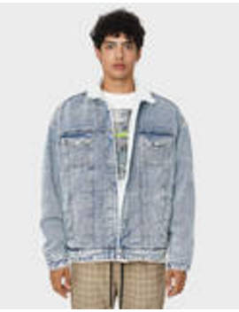 Denim Jacket With Faux Shearling And Print by Bershka