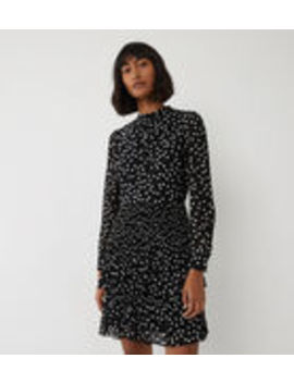 Spot Micropleat Mini Dress by Warehouse