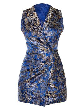 Navy Jacquard High Collar Sleevless Blazer Dress by Prettylittlething