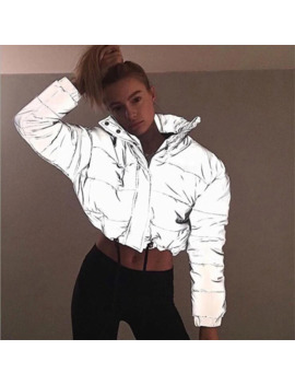 Fashion Flash Reflective Women Padded Jacket Short Tops Warm 2019 Autumn Winter Solid Zipper Oversize Loose Outwear Coats Casual by Ali Express.Com
