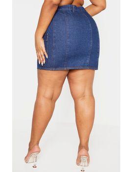 Plus Mid Wash Denim Mini Skirt by Prettylittlething