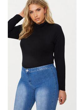 Plus Black Roll Neck Long Sleeve Bodysuit by Prettylittlething