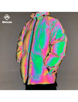 Winter Jacket Men Thick Rainbow Reflective Jackets Parka Coat Fashion Young Hip Hop Loose Jacket Streetwear Outwear Men Clothes by Ali Express.Com