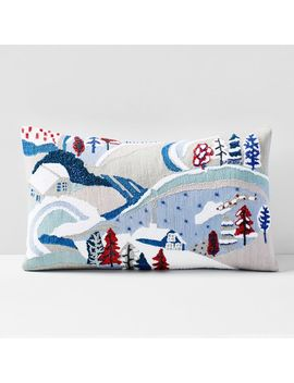 Embellished Holiday Landscape Pillow Cover by West Elm
