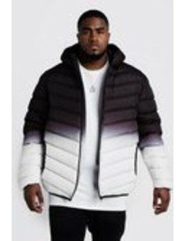 Big & Tall Quilted Zip Jacket Gradient Print by Boohoo Man