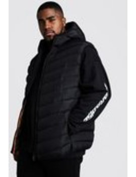 Big & Tall Quilted Zip Gilet With Hood by Boohoo Man