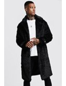 Luxe Faux Fur Overcoat by Boohoo Man