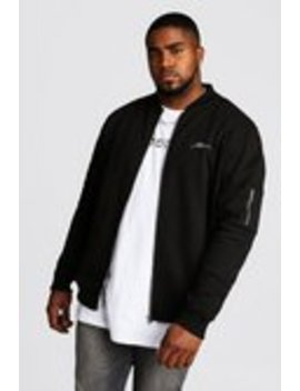 Big And Tall Man Script Ma1 Jersey Bomber by Boohoo Man