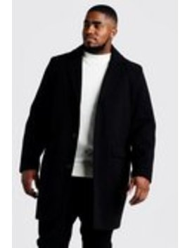 Big & Tall Single Breasted Wool Mix Overcoat by Boohoo Man