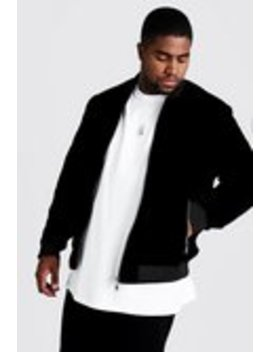 Big & Tall Velour Bomber Jacket by Boohoo Man
