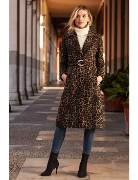 Leopard Print Belted Wool Mix Coat by Sosandar