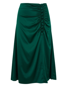 Minetta Green Stretch Silk Midi Skirt by Veronica Beard