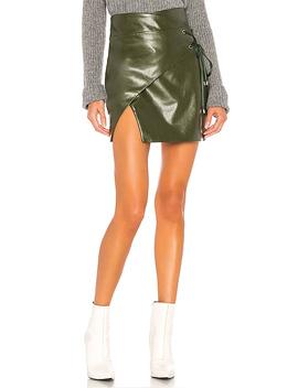 Hyperion Mini Skirt In Olive Green by Majorelle