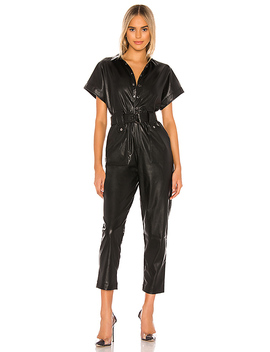 Pu Belted Jumpsuit In Black by Bardot