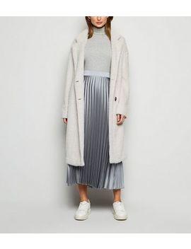 Dark Grey Pleated Satin Midi Skirt by New Look