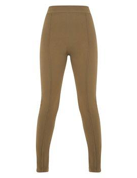 Khaki Stitch Detail Side Split Skinny Pants by Prettylittlething