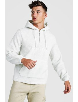 Man Official Borg 1/4 Zip Over The Head Hoodie by Boohoo