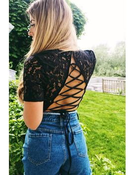 Dani Dyer Black Lace Up Back Lace Bodysuit by In The Style