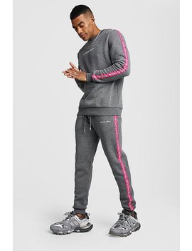 Official Man Tape Sweater Tracksuit by Boohoo