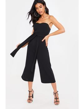 Lebrainer Black Tie Front Culotte Jumpsuit by In The Style