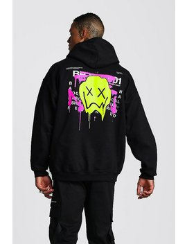 Oversized Drip Face Graffiti Print Hoodie by Boohoo