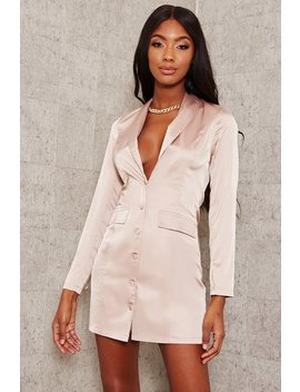 Camel Satin Plunge Blazer Dress by I Saw It First