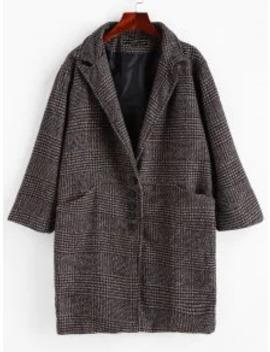 New Lapel Pocket Drop Shoulder Plaid Coat   Dark Gray M by Zaful