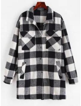 Popular Checkered Pocket Longline Coat   Multi S by Zaful