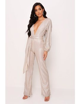 Nude Long Balloon Sleeve Sequin Jumpsuit by I Saw It First