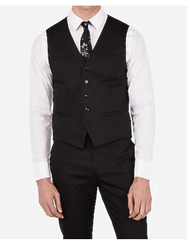 Black Cotton Sateen Stretch Suit Vest by Express