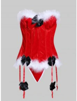 Popular Fur Trim Bowknot Lace Up Garter Corset Set   Lava Red S by Zaful