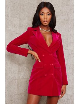 Fuchsia Velvet Blazer Dress by I Saw It First