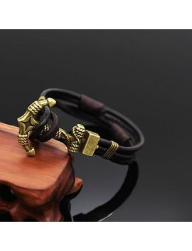 Mens Womens Multilayer Genuine Leather Wrap Rope Cuff Anchor Bracelet Wristband by Unbranded