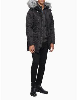 Nylon Faux Fur Hooded Parka Jacket by Calvin Klein
