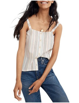 Button Front Tank In Emb Rainbow Stripe by Madewell
