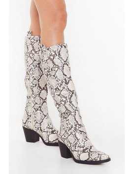 Something Just Like Hiss Knee High Snake Boots by Nasty Gal