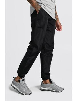 Nylon Cargo Joggers With Bungee Hem by Boohoo