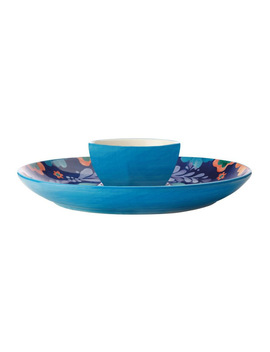 Majolica Chip & Dip 30cm Blue Gift Boxed by Maxwell & Williams
