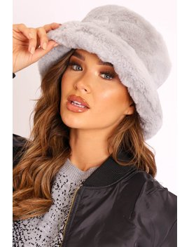 Grey Faux Fur Bucket Hat   Hally by Rebellious Fashion