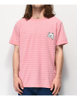 Ripndip Peeking Nermal Pink Striped T Shirt by Ripndip