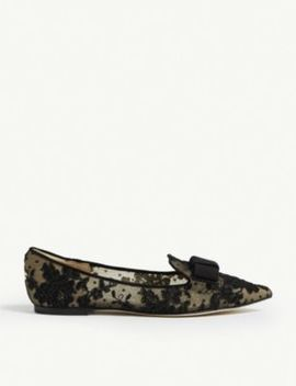 Gala Floral Lace Pointed Toe Flats by Jimmy Choo