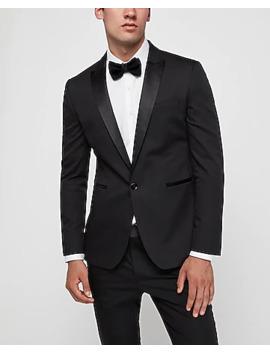 Extra Slim Black Satin Peak Lapel Tuxedo Jacket by Express