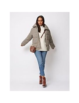 Light Brown Check Padded Coat by Asda