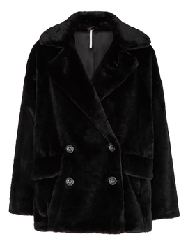 Kate Black Faux Fur Coat by Free People
